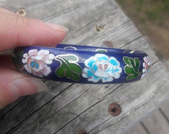 Dark Blue Cloisonne Bangle Bracelet