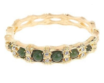 Jackie Kennedy GP Bracelet - 24K Jade Bamboo Bangle with Box and COA