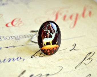 Autumn deer handmade glass cabochon ring - Fairytale jewelry, woodland ring, deer ring, love animals ring, forest ring