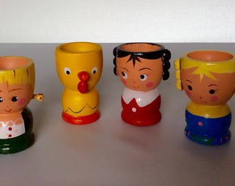 Hand Painted Wooden Figure Egg Cup Holder