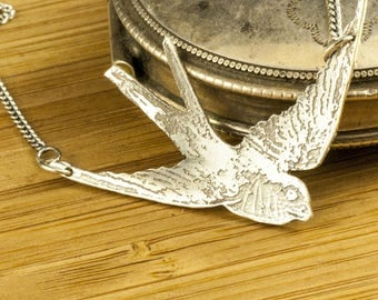 Necklace Pendant Sterling Silver etched swallow textured, Hand cut, jewelery