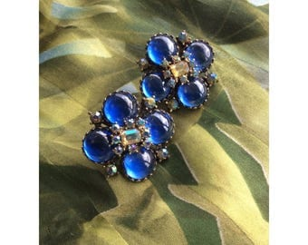 Blue Vendôme Jewel Clip On Earrings / Rainbow like Jewel Center / Faux Diamond Detailing