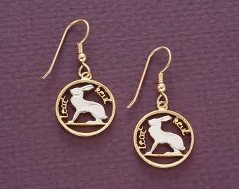 "Irish Rabbit Coin Earrings, Ireland Three Pence Coin Hand Cut,14 Karat Gold and Rhodium plated, 14 K G/F Wires, 5/8"" in Diameter ( # 165E )"