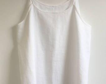 White Linen Plus Size Singlet Top.