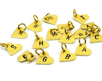 1 Pcs. Raw Brass Initial Letter Tag  9X10 mm Hearth  Charms with Jump Ring