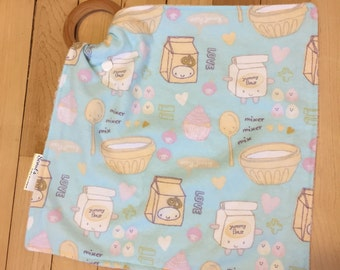 Natural Wooden Teether Lovey Blanket -- Blue Baking and Sweets