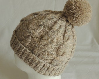 Men's, or Women's  Hand Knitted, Oatmeal, Cable Pattern Beanie Hat With Bobble / Pom Pom