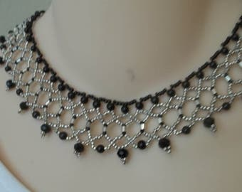 Black and silver netted bib or collar necklace