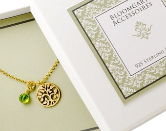 NECKLACE life tree 925 sterling silver, gold plated