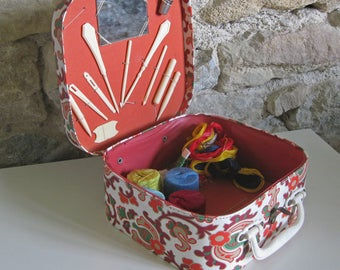 child's sewing basket, French toy suitcase sewing box fitted with original accessories