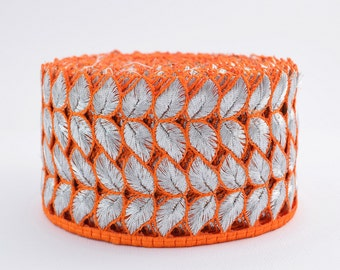 Lace Trim, Embroidered Lace, Embroidery Lace Trim, Border, Indian Style, Paisley, Floral, Orange, Silver - 1 meter