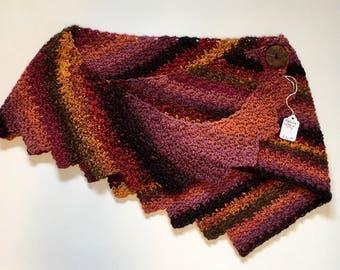 Multicolored lace crochet shawl shawlette