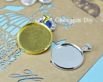 20pcs 12mm 14mm High Quality Silver Plated/Glod Brass Cameo Cabochon Base Setting Charm Pendant