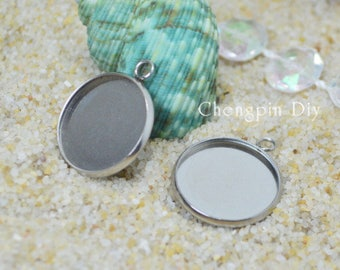 20pcs Round Bezel Cups - Stainless Steel - Bezel Pendant Blanks - Glass Cabochon Setting - Pendant Trays - hypoallergic Cups