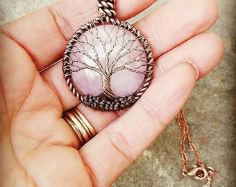 "Made to Order Tree of Life Necklace w/ 30 mm Pink Quartz Moon Stone Cabochon 18 "" Chain + extension"