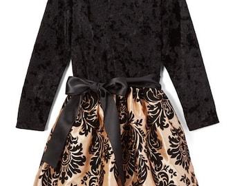 Black & Bronze Damask Velvet Dress - Infant, Toddler, Girls