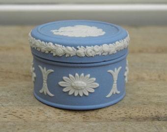 Vintage Wedgwood Jasperware Trinket Pot, Trinket Box, Small Jasperware Pot, Lidded Pot,