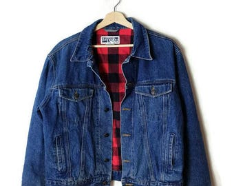 Damaged Vintage Red buffalo Plaid  Lined  Denim jacket from 90's*
