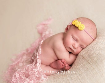Yellow Pink Baby Headband , Triple yellow rosettes , Newborn yellow pink headband