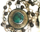 One Love world coin pendant with old stock vintage turquoise gold and bronzite handmade chain necklace silver copper