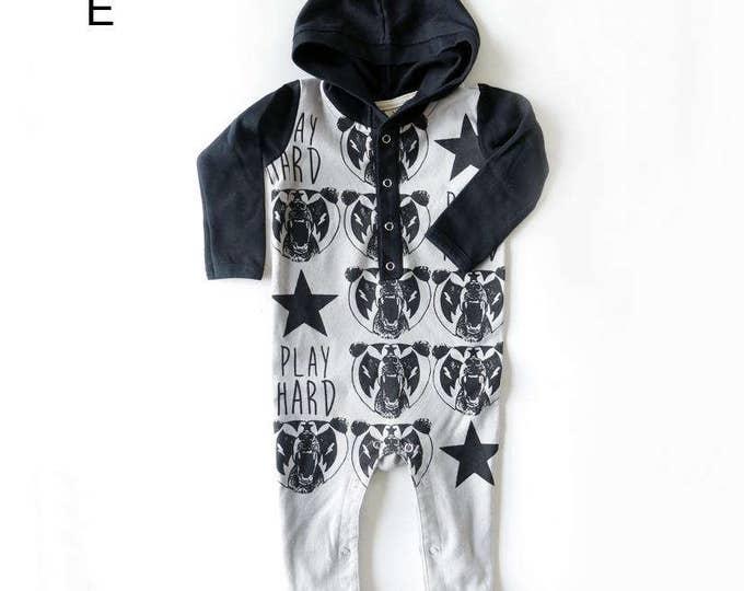 Mexican Wrestling Bear Long Sleeve Hoodie Playsuit - Unisex Alternative Wrestler Rockabilly Bodysuit Baby Grow 0-3, 3-6, 6-12 month