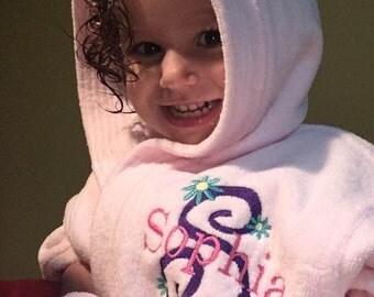 Children's Personalized Velour Hooded Bath Robe, Embroidered Robe- Custom Robe-Monogrammed Kids Bath Robe