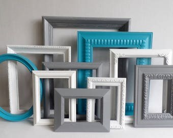 Custom Picture Frames Set - Teal Gray And White Collection - Vintage Ornate - Baby Nursery - Shabby - Distressed - Gallery Wall - Wedding