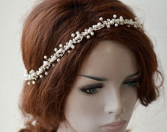 Bridal headband, pearl headpiece,  Pearl Wedding Headband, headpiece, Hair Accessory,  Hair Jewelry