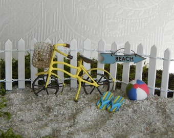 Fairy Garden accessories beach bike bicycle - miniature garden - beach garden - miniature yellow bicycle garden miniatures, beach ball