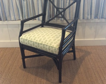 Set of 4 Vintage Rattan Armchairs with New Upholstered Seat Cushions