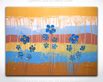 """Flori Albastre"" - Abstract Blue Flower Painting ORIGINAL Contemporary Art Texture Oil Painting by Denisa Laura on 32x24 Canvas"
