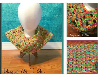 Crochet Rainbow Sherbet Cowl - Adult