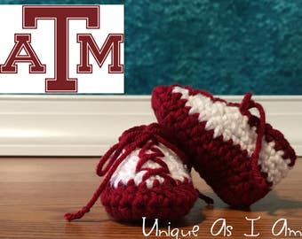 Crochet Baby Booties - Texas A & M Aggies Colors