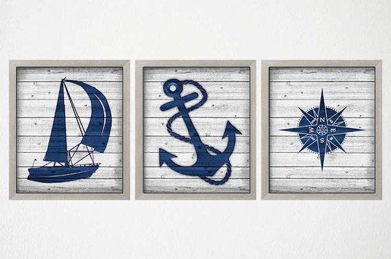 Coastal Bathroom Decor Wall: Rustic Nautical Decor Nautical Art Prints Coastal Wall