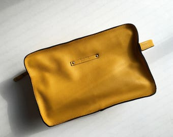Cosmetic Pouch, Genuine Leather Cosmetic Pouch, Leather Neccessaire, Handmade Bag, Gift for Her, Yellow Bag, Hand Bag