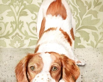 Brittany Spaniel Watercolor Painting, Brittany Spaniel Painting, Brittany Watercolor, Brittany Spaniel Art, Dog Art, Brittany Spaniel