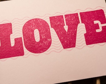 Love Letterpressed Valentine and Anniversary Card in Pink and Maroon Ink on Pink Paper with Stripes and Waves LGBTQ Printed in Cleveland