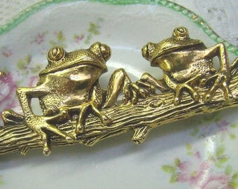 Summer Sale...Vintage Frogs Brooch...Gold Frogs on Log Brooch...Textured Gold Detail...Happy Frog Pin...Two Frog Brooch