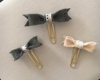 Set of 3 Felt Bow Paper Clips/planner clips/ page markers