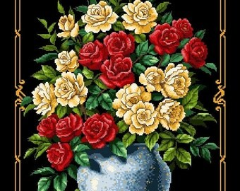 Great Bouquet of Roses -Cross Stitch Pdf Pattern