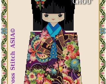 Chiyogami Girl CHOU -Cross Stitch PDF Pattern fr: CrossStitchASIA©