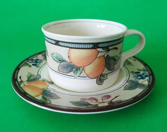Mikasa Intaglio Garden Harvest Cup and Saucer, CAC29, Mint Condition