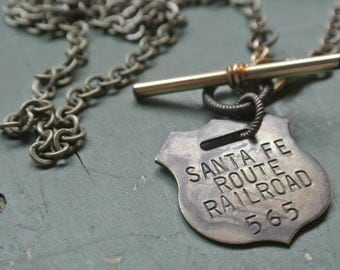 Vintage Sante Fe Railroad Tag Necklace, #565 UPcycled Watch Fob Brass Chain, Unisex, Eclectic, Repurposed One of a Kind By UPcycled Works