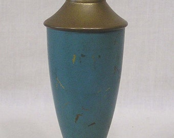 Vintage Table Light Boudoir Lamp Green Slag Glass Footed Base Metal Standard 1930s