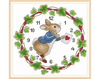 Clock face cross stitch pattern in PDF file - Beatrix Potter Bunny Clock 007, garland clock