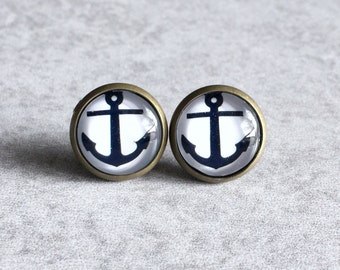 Anchor Earrings - Black and White Glass Cabochons, 12mm Bronze Bezel Trays, Antique Bronze Stud Posts, Nautical, Sailor-Inspired, Ocean, Sea