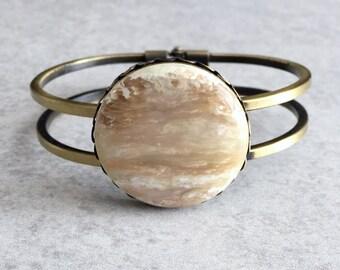 Metallic Jupiter Bangle - Cream, Beige, Ivory, Iridescent, Antique Bronze Bracelet, 30mm Vintage Acrylic Cabochon, Galaxy, Boho Chic, Gypsy