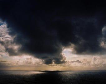 Dark Cloud at Sea in Iceland. 11x17 Handmade Fine Art Print. Signed by Ryan Muirhead