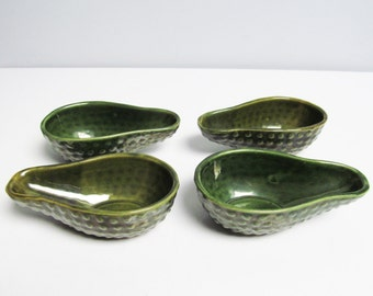 4 Four Vintage ceramic avocado dish, vegetable bowl Guacamole avocado shaped bowl dark green olive glaze dimples en relief canape serving