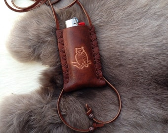 leather lighter case necklace with owl, lighter pouch, leather lighter leash, lighter case, leather pendant bic cover, lighter necklace